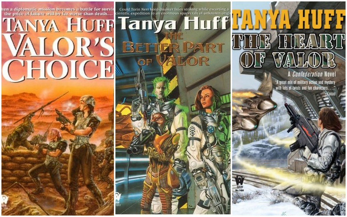 """Valor's Choice"" ""The Better Part of Valor"" ""The Heart of Valor"" - Confederation #1, #2 and #3"" by Tanya Huff - Fast and fascinating SF Military Series"