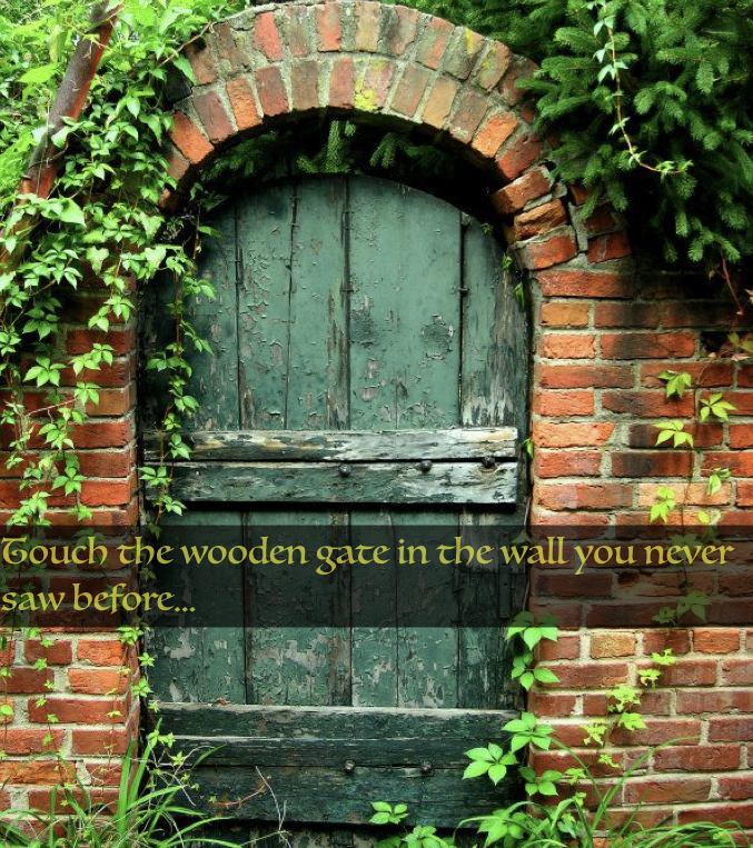 touch the wooden gate